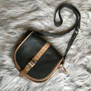 The Sak Black &taupe Leather Crossbody satchel bag